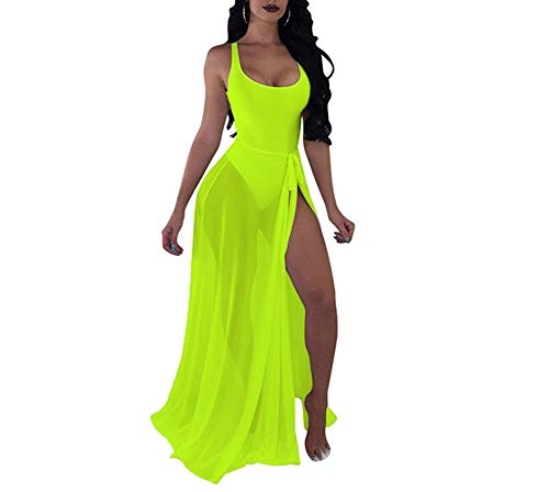 BANLAN Women Sexy Backless Bodysuit Lace up See Through Maxi Skirt Set 2 Piece Swimsuit