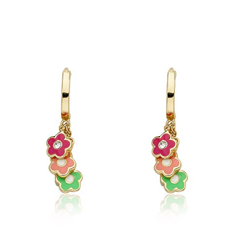 Little Miss Twin Stars Frosted Flowers 14k Gold-Plated Hoop Earring With Pink, Hot Pink & Mint Green Enamel Flowers Cluster Dangle/