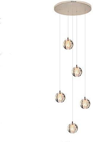 Escaleras Lampara Techo Iluminación larga la lámpara Bolas vidrio múltiples Lamparas Escalera Lámpara colgante cristal moderna Burbuja Comedor Villa Sala estar plafon led techo creativa (Warm,5balls): Amazon.es: Iluminación