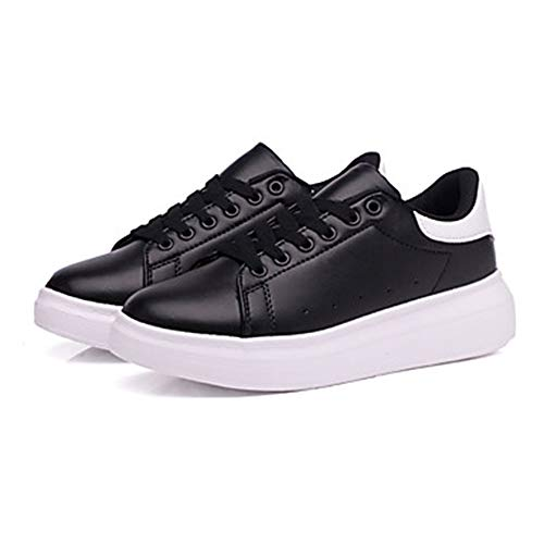 Poliuretano Tonda Piatto Donna PU Sneakers E Punta Nero Nero UK4 Comoda Bianco Verde US6 TTSHOES EU36 Black Bianco Scarpe CN36 Per Autunno wIFn5qv8