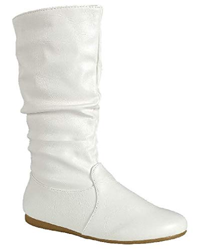 Wells Collection Womens Boots Soft Slouchy Flat to Low Heel Under Knee High, White, 6 ()