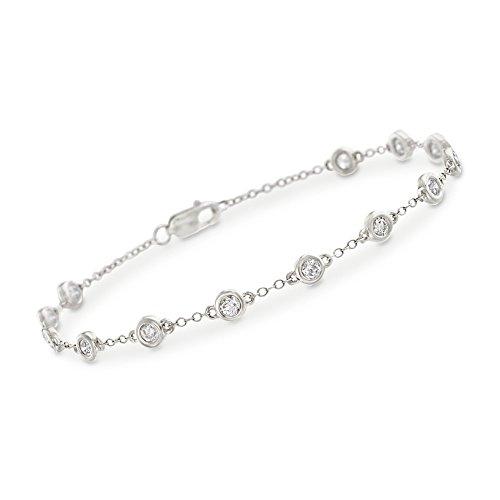 Ross-Simons 1.00-1.05 ct. t.w. Bezel-Set Diamond Station Bracelet in 14kt White Gold