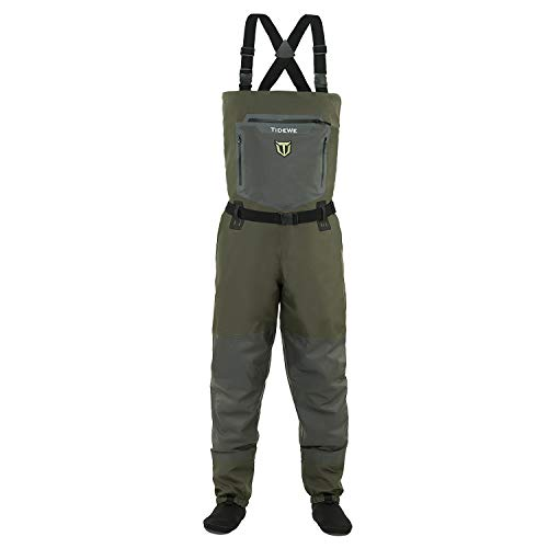 TideWe Breathable Waders, Waterproof Stockingfoot Chest Waders with Zippered Pockets, Lightweight Fly Fishing Waders for Men and Women (Size M)