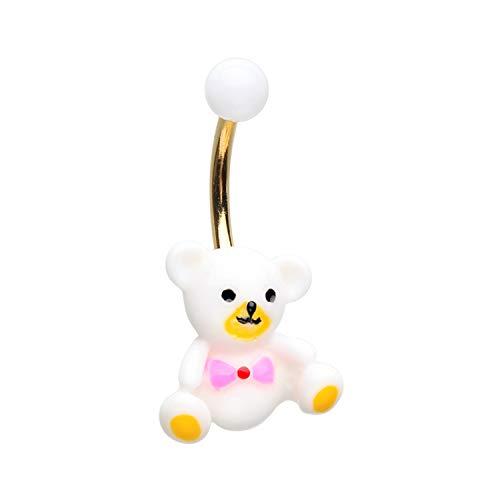 Little Aiden Golden Teddy Bear Non Dangle Navel Belly Button Ring Size 14GA 3/8