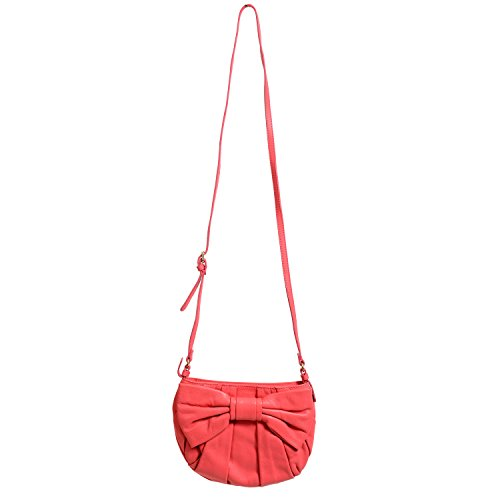 (Red Valentino Women's Pink 100% Leather Bow Decorated Shoulder Bag)