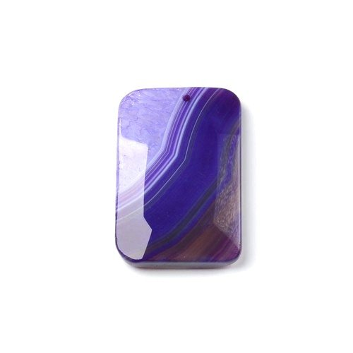 - 1 x Purple Banded Agate 37 x 58mm Pendant (Faceted Rectangle) - (CB48316) - Charming Beads