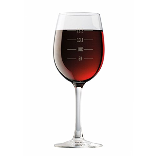 Runner's Measurements Engraved Wine Glass | Wine Glasses By Gone For a Run | 19 oz. (For Ideas $25 Gift Runners Under)