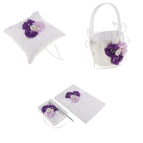 BROSCO Bridal Shower Ring Pillow Flower Basket Guest Book Pen Set Wedding Prom