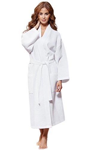 Turquaz Linen Lightweight Long Waffle Kimono Unisex Spa Robe (One Size, White) (Kimono Unisex)