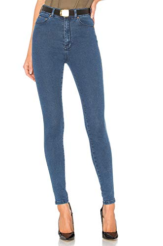 Femme Pantalons Taille Jean Denim H Super lastique Bleu HIAMIGOS en Stretch Fonc Pants Skinny Haute qnqawfEx
