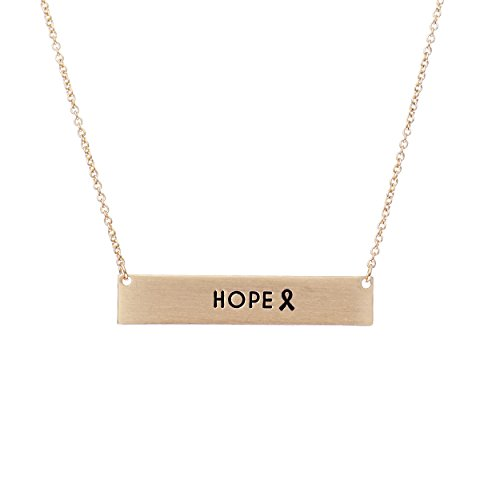 Rosemarie Collections Women's Pink Ribbon Bar Necklace Hope (Gold)