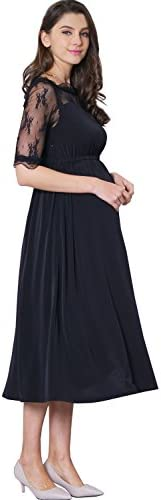 Maternity Nursing Breastfeeding Summer Formal Classic Baptism Dress Baby Shower Party Lace Sleeve