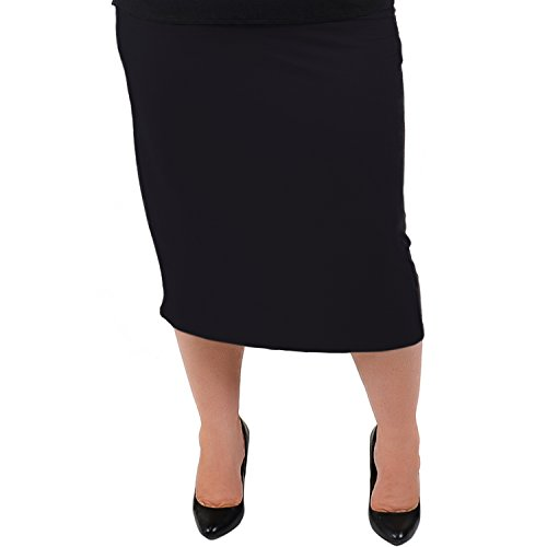 Stretch is Comfort Women's Plus Size Comfortable Soft Stretch MIDI Skirt Black 3X