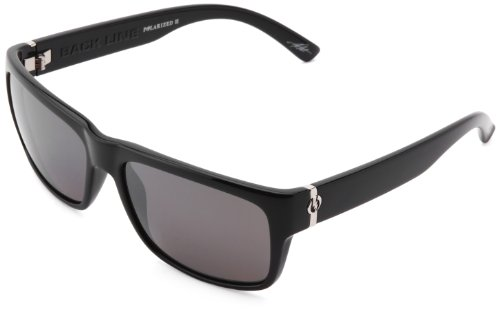 Electric Visual Back Line Polarized Cat Eye Sunglasses, Gloss Black -Grey/Silver Level II - Electric Sunglasses Mens