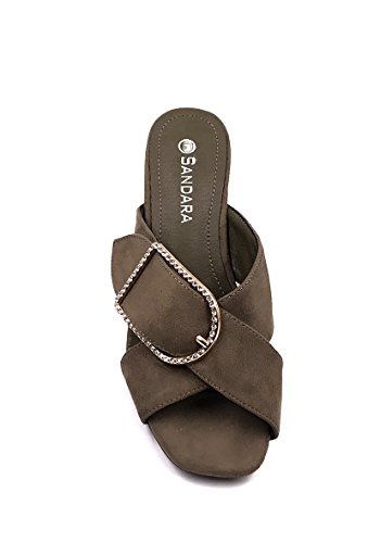 CHIC NANA Sandals Mounted On a Block Heel, Rhinestone Buckle Strap. Kaki