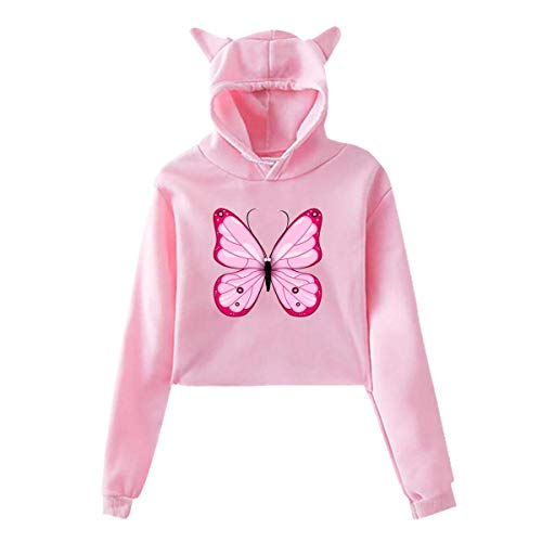 (Pink Butterfly,Hoodie Cat Ear Sweater Exposed Navel,Casual Hooded for Womens Women Cotton Pink Small)