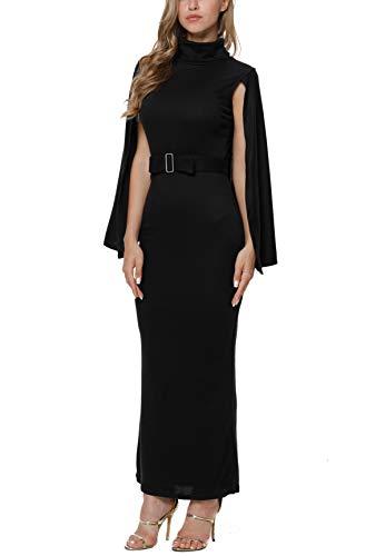 - LaSuiveur Women's Prom Cape Cowl Neck Solid Color Long Maxi Dress Black S
