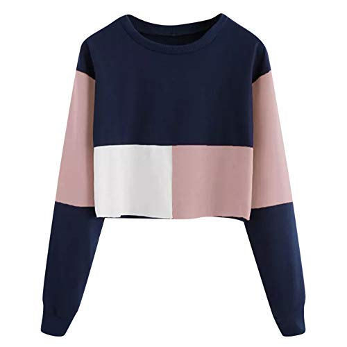 Photno Women's Sweatshirts Autumn Color Block Round Neck Long Sleeve Pullover Crop Tops Blouse Shirts ()
