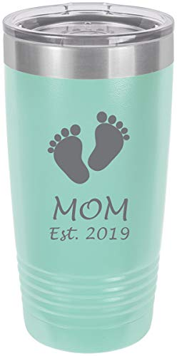 Mom Established EST. 2019 Baby Feet Stainless Steel Engraved Insulated Tumbler 20 Oz Travel Coffee Mug, Teal (Best Coffee Tumbler 2019)