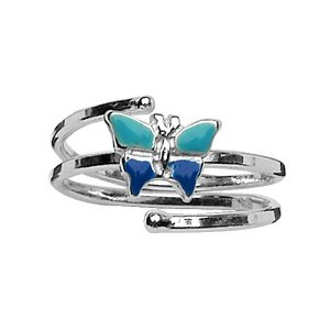 1001 Bijoux Bague enfant argent ajustable papillon bleu
