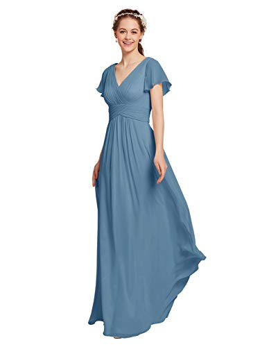 (AW Chiffon Bridesmaid Dress with Sleeves V-Neck Wedding Maxi Evening Party Dress Long Plus Size Prom Gowns, Dusty Blue, US18)