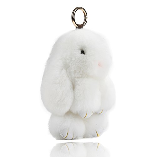 USATDD Easter Bunny Doll Keychain Soft Cute Rex Rabbit Fur Pom Pom Fluffy Plush Pendant Key chain Car Handbag Keyring Womens Gril Charms 7 (White)