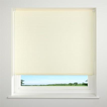 universal plain straight edge roller blind cream w180 x d214cm rh amazon co uk