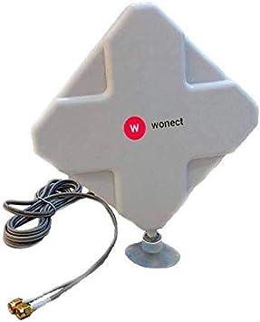 Antena 4G interior Panel 24dBi LTE Interior Exterior Soporte Ventosa Cable 3 Metros SMA Macho. Mejora señal entrada Routers 4G con conexión SMA de ...