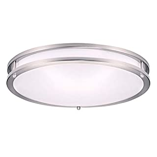 OSTWIN 18 Inch LED Flush Mount Ceiling Light 28W (180W Eqv) Dimmable 1960 Lm - 5000K (Daylight) Round LED Ceiling Light Fixture - Brushed Nickel Finish Acrylic Shade, ETL & Energy Star