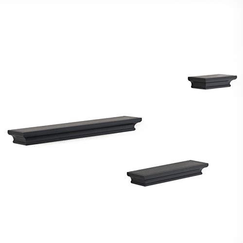Traditional Wall Shelf Ledge Set Crown Molding Design Set of 3 (Black)