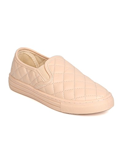 Qupid FI28 Women Leatherette Quilted Slip On Sneaker – Nude (Size: 8.5)