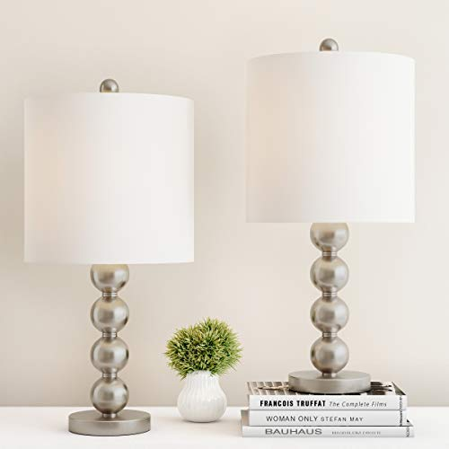 Lavish Home Table Lamps - Set of 2 Matching Modern Stacked Balls Lighting Energy-Efficient LED Bulbs Included
