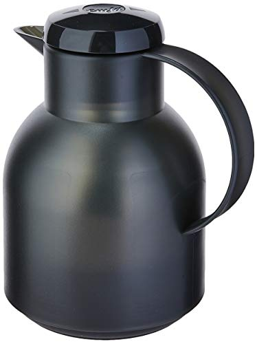 Emsa Samba, Quick Press, Vacuum Insulated Thermal Carafe, 34 oz, Translucent - Beverage Thermal Lined Servers