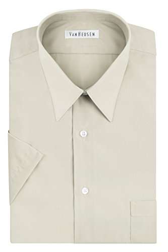 Van Heusen Men's Short Sleeve Poplin Solid Dress Shirt, Stone, 18.5