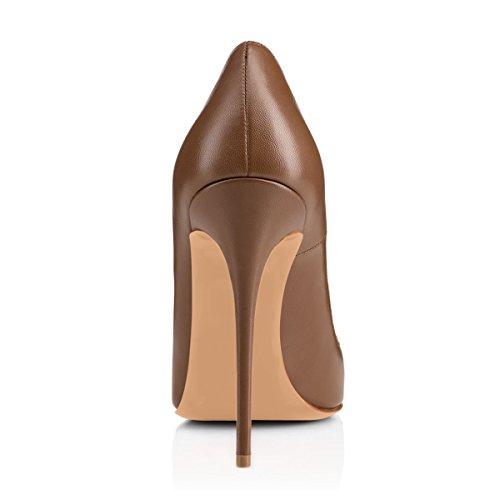 High Brown Leopard Print Heels Onlymaker Rivet Shoes Stilletto Pumps Stud Pointed Dress Women's Toe w1SOYx