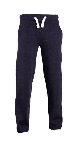Pantalon jogging résistant tissu doux au touche avec ourlet ouvert et cordon épais - Bleu marine, M