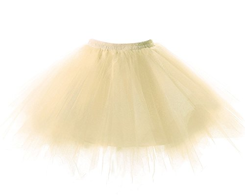 Imixcity Femmes Jupe de tulle Ballet Lache Tour de Taille Princesse Mariage Tutu Tulle Mesh Skirt 4 Couche Duveteux Tulle Genou-Robe Champagne