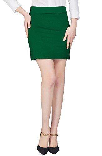 Urban GoCo Mujeres Falda Mini Recta Cintura Elástica Stretch Bodycon Tubo Falda Corta Oficina Verde esmeralda