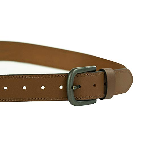 Dickies Men's 100% Leather Jeans Belt with Stitch Design and Prong Buckle