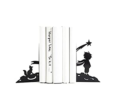 Children's Bookends The boy and his dream // Free shipping // Fox // Black // Nursery decor. Bookish gift for reader.