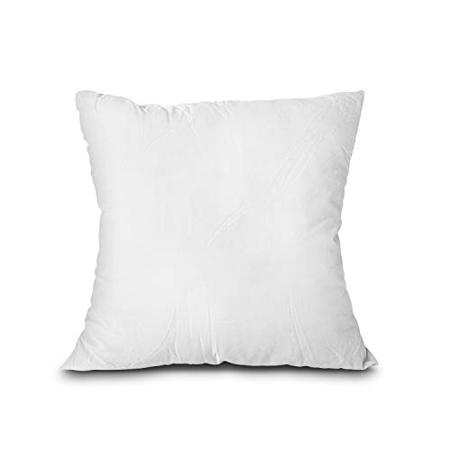 EDOW Throw Pillow Insert, Lightweight Soft Polyester Down Alternative Decorative Pillow, Sham Stuffer, Machine Washable. (White, 18x18) (18 Pillow Insert)