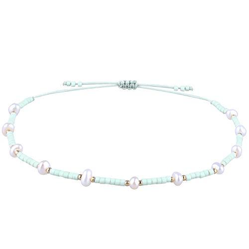KELITCH Shell Pearl Beaded Friendship Bracelets Handmade Wrap Boho Charm Bangle (Light Green T)