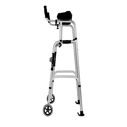 - XIHAA Elderly People Standard Walkers Foldable Walker Adjustable Walking Assist Equipped Wheels Equipped with Arm Rest Pad for The Limited Mobility with Disabled(Double Wheel)