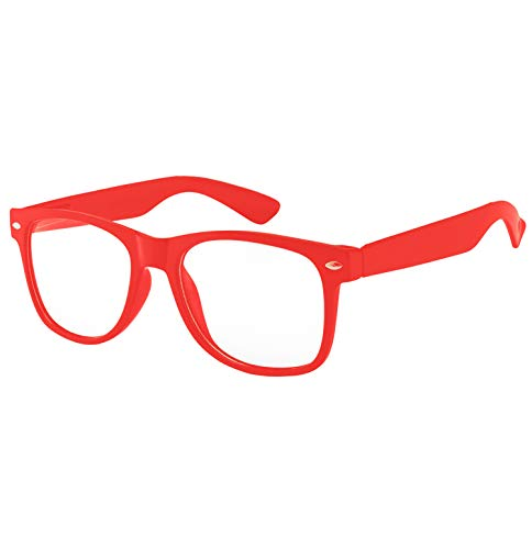 Retro 80's Vintage Sunglasses Clear Lens Red Plastic Frame UV Protection ()