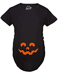 Maternity Cartoon Eyes Pumpkin Face T Shirt Halloween Fall October Pregnancy Tee