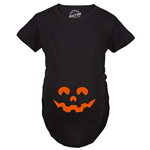 Maternity Cartoon Eyes Pumpkin Face T Shirt Halloween Fall October Pregnancy Tee (Black) -