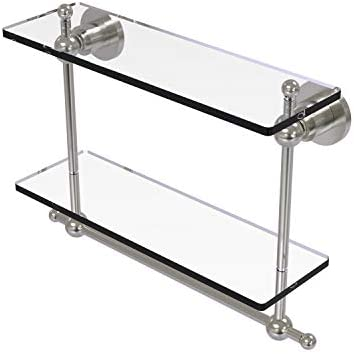Allied Brass AP-2TB 16 Astor Place Collection 16 Inch Two Tiered Integrated Towel Bar Glass Shelf, Satin Nickel