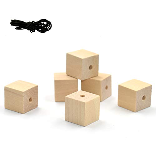 R.FLOWER 50PCS 3/4 Inch Natural Unfinished Craft Wood Blocks with 4mm Hole for Jewelry Making, Puzzle Making, Photo Blocks, Crafts & DIY Projects
