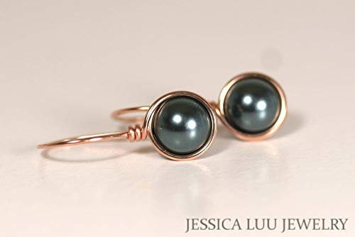 Rose Gold Tahitian Swarovski Pearl Earrings Wire Wrapped Earrings Choice of Yellow or Rose Gold Filled