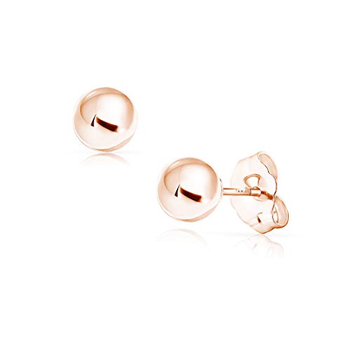 - SOLIDGOLD - 14K Gold Filled Ball Stud Earrings Dazzling Rose Gold | 6mm